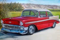Vintage cars | CUSTOM classic car original oil painting old antique car auto ...