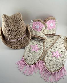 Newborn Infant Toddler Baby Cowgirl Photography Prop Costume Shower Birthday Holiday Gift Cowgirl Hat Boots Vest and Ruffle Diaper Halloween