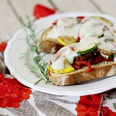 Open Face Roasted Vegetable Sandwiches on Rosemary Bread (i think ill do a tomato basil bread instead - holly)