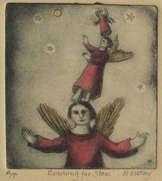 Nicola Slattery - Reaching for Stars, 39 x 35cm, drypoint