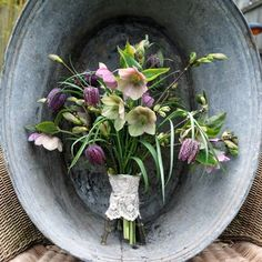 Natural spring bouquet of hellebores and snake's head fritillary by www.foragefor.co.uk