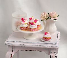 Miniature Shabby Chic Cupcakes by CuteinMiniature on Etsy