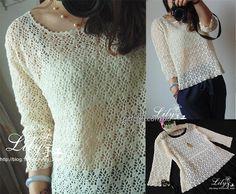 Красивый ажурный пуловер крючком. Схемы