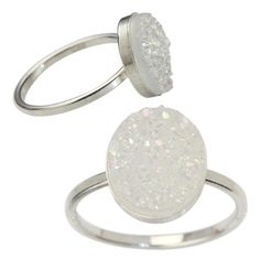 Oval Druzy Ring - Silver