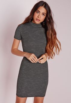 Up your day game this season in this grey marl striped mini dress. In figure flattering textured bodycon fabric this dress is on point. With high neck feature this dress is totally on fleek. Style with some ankle boots for a super effortles...