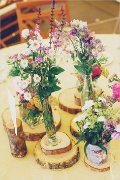 easy wedding centerpiece ideas that reflect nature. may be too informal