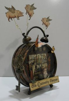 Cassie's Scraps: Olde Curiosity Shoppe Altered Clock Altered Boxes, Altered Art, Assemblage Art, Graphic 45, Steampunk, Dioramas, Clock Art, Clock Decor, Old Clocks