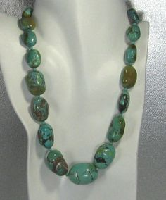 Big Turquoise Nugget Necklace Chunky Turquoise statement necklace that is a show piece of turquoise jewelry