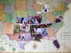 Turn a map into a photo collage that documents the places you've visited.