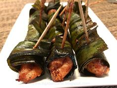 Pandan Chicken is one of those party food that is easy to make and very tasty. Makes a great appetizer or finger food. It is made of marinated chicken wrapped in pandan leaves and deep fried.