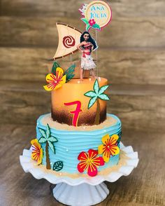 Moana Birthday Decorations, Moana Theme Birthday, Moana Themed Party, Batman Birthday Cakes, Cupcake Birthday Cake, Moans Birthday Party, Hawaii Cake, Festa Moana Baby, Elsa Cakes