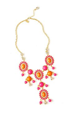 Bright Lilly Pulizter necklaces are perfect for a summer or spring day. don't recommend for winter you might look like an orange.
