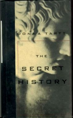 """The Secret History"" by Donna Tartt, Alfred A. Knopf, (1992). Type on Acetate Jacket Wrapped around Photographic Printed Paper-Over-Board Case. Jacket design by Chip Kidd"