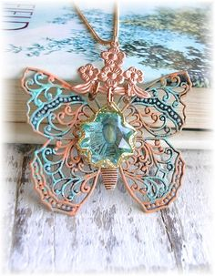 Vintage Brass Necklace Enamel Butterfly by TheVintageHeart