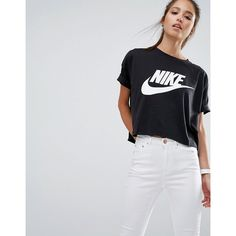 Nike Signal Cropped T-Shirt ($38) ❤ liked on Polyvore featuring tops, t-shirts, black, pattern t shirt, nike top, nike jerseys, crewneck tee and print crop tops