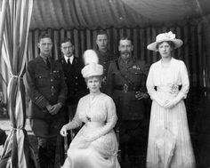 1918: From left, King George VI, then Prince Albert, (1895 - 1952), Prince George, Duke of Kent, (1902 - 1942), Queen Mary, (1867 - 1953), Prince Henry, Duke of Gloucester, (1900 - 1974), King George V, (1865 - 1936), and Countess of Harewood, Mary, Princess Royal, (1897 - 1965). The family is celebrating the Silver Wedding Anniversary of King George and Queen Mary.