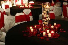 Red & Black Wedding Centerpiece