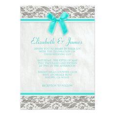 "Aqua Country Lace Wedding invitations 5"" X 7"" Invitation Card"