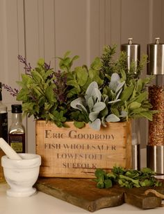 Herb Selection in a Vintage Wooden Trug | RTfact | Artificial Silk Flowers