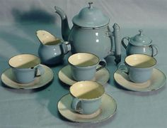 blue and white enamel tea set.