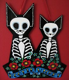 Day of the Dead cats-- memorial for Daisy and Elly.  Tattoo Tales