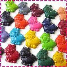 HIPPO CRAYONS Birthday Party Pack of 20 - fun favors for a hippo-themed party