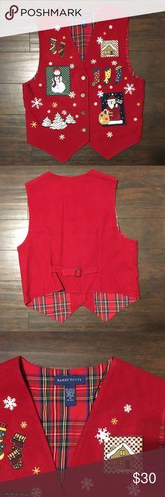 Karen Scott Christmas Vest This is a Karen Scott Christmas vest. It is s size medium and in great condition. Karen Scott Jackets & Coats Vests