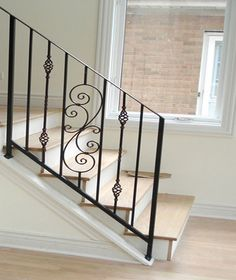 A custom wrought iron residential ornamental railing for a home in Chicago.