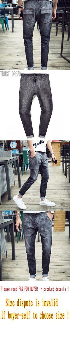 TRUST DREAM Mens Fashion Slim Denim Pants Black Zipper Harem Jeans Big Pockets Trousers Man's Wear Fashion Clothing