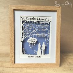 Rob Ryan Inspired Paper Cut Anniversary Gift Personalised Song Lyrics Wedding Print First Dance