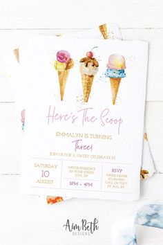 Ice Cream Parlor Birthday Party Invitation Ice Cream Social Ice Cream Party Ice Cream Birthday Here's The Scoop Invite Editable PDF - Kiddos ❤️ - breadrecipes 3rd Birthday Parties, Birthday Party Invitations, Girl Birthday, Ice Cream Theme, Ice Cream Parlor, Ice Cream Invitation, Ice Cream Social, Etsy, Homemade Ice
