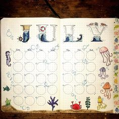 "This is so cute!!! ""Nautical July calendar #bujo #bujomonthly #julycalendar #underthesea #nautical"""