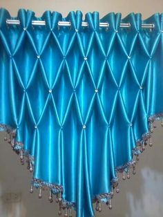 An unusual way to use smocking Swag Curtains, Curtains And Draperies, Elegant Curtains, Home Curtains, Kitchen Curtains, Smocking Tutorial, Smocking Patterns, Curtain Patterns, Curtain Designs