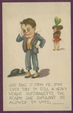 DON'T TELL A HEAVY WEIGHT SUFFRAGETTE SHE SHOULDN'T VOTE POSTCARD WOMENS RIGHTS