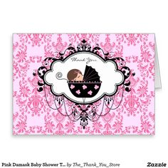 Pink Damask Baby Shower Thank You Cards