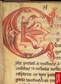 Detail of decorated initial.   Origin:England, N.
