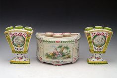 French Faience Tin-Glazed Tulipieres