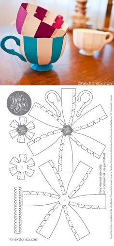 Free Printable 3D Tea Cup, these would be cute to hang at an Alice in wonderland party: (paper pom poms free printable)
