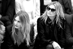 Cara Delevingne and Kate Moss at Burberry during London Fashion Week