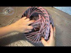 Красивая загибка. Плетение из бумажных трубочек | oblacco Home Crafts, Diy And Crafts, Arts And Crafts, Newspaper Basket, Cardboard Crafts, Basket Weaving, Gourds, Handmade, Style