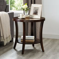 This ultra-handy and handsome Hansmeier End Table with Storage brings casual elegance to your living room. This wooden coffee table boasts a versatile finish and a lower shelf offers display space. Round Wooden Coffee Table, Coffee Table With Shelf, Wood End Tables, End Tables With Storage, Side Tables, Coffee Tables, Entryway Tables, Living Room End Tables, Living Room Shelves