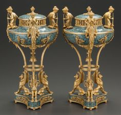 A Pair Of French Neoclassical Hardstone Gilt Bronze Mounted Urns. France, circa 1880.