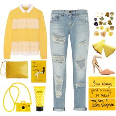 Designer Clothes, Shoes & Bags for Women Mustard Yellow Sweater, Happy Fun, Boyfriend Jeans, Casual Chic, Casual Outfits, How To Make, How To Wear, Classy, Bright