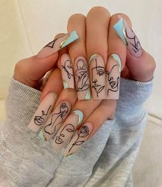Edgy Nails, Stylish Nails, Swag Nails, Nail Design Stiletto, Nails Design, Nagellack Design, Lines On Nails, Bling Acrylic Nails, Coffin Nails