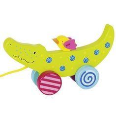 klikněte pro detail - Tahací hračka ze dřeva – Krokodýl Goki