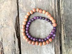 Lepidolite Gemstone Wood Bead Doublewrap Bracelet Handmade Detroit Yoga Meditation Minimalist Standing Rock Chakra Strech Jewelry Love