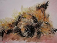 cairn terrier aquarell by Pitbull Terrier, Cairn Terriers, Terrier Dogs, Scottish Terriers, Terrier Mix, Norwich Terrier, Cairns, Watercolor Animals, Watercolour