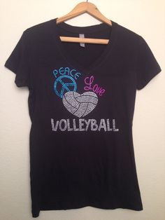 Ready to ship Volleyball Rhinestone T-Shirt. BLING Peace Love Volleyball Tee Size SMALL by BlingByCricket