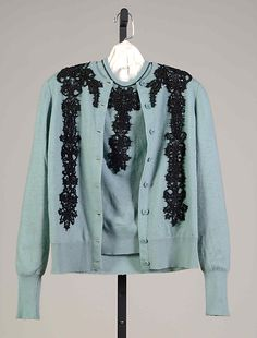 Circa 1948 blue wool evening sweater set with black bead decoration, attributed to Mainbocher, American.