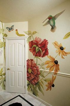 Wall painting hummingbird love this for a small powder room